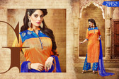 Vibrant & Graceful Orange Colored Banarasi Silk Suit