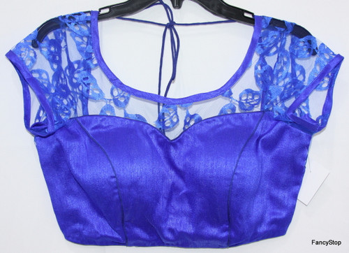 Designer Ready-Made Padded Saree Blouse Blue Net