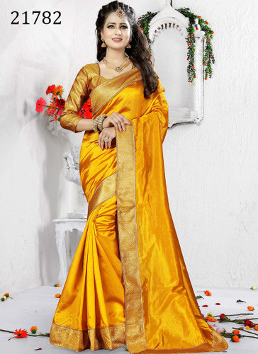 Delightful & Charming Yellow Colored Art Silk Saree