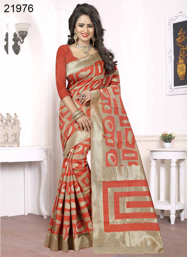 Elegant & Alluring Beige & Peach Colored Banarasi Silk Saree