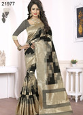Elegant & Alluring Beige, Black & Grey Colored Banarasi Silk Saree