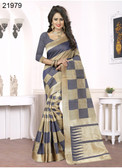 Elegant & Alluring Beige & Blue Colored Banarasi Silk Designer Saree
