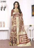 Elegant & Alluring Beige & Rust Colored Banarasi Silk Saree