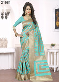 Elegant & Alluring Beige & Blue Colored Banarasi Silk Premium Saree
