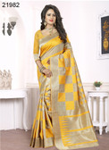 Elegant & Alluring Beige & Yellow Colored Banarasi Silk Saree