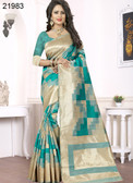 Elegant & Alluring Beige & Blue Colored Banarasi Silk Chic Saree