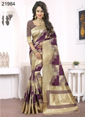 Elegant & Alluring Beige & Magenta Colored Banarasi Silk Saree