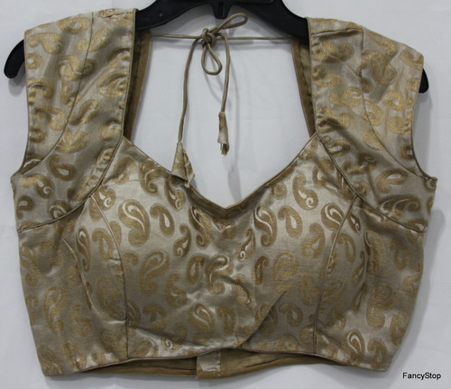 Designer Ready-Made Padded Saree Blouse Beige Brocade