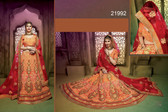 Stunningly Attractive Orange & Pink Colored Silk Lehenga