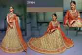 Stunningly Attractive Beige Colored Silk Premium Lehenga
