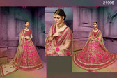 Stunningly Attractive Beige & Pink Colored Silk Lehenga