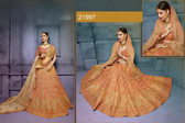 Stunningly Attractive Peach Colored Silk Designer Lehenga