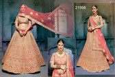 Stunningly Attractive Peach Colored Silk Premium Lehenga
