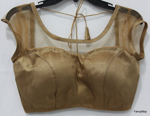 Designer Ready-Made Padded Saree Blouse Copper Net