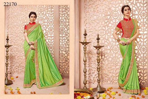 Gorgeous & Classy Green Colored Silk Fabric Saree