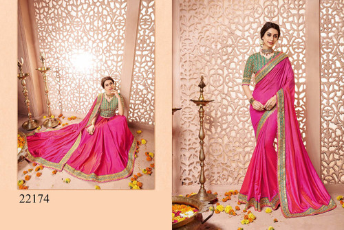 Gorgeous & Classy Pink Colored Designer Silk Saree