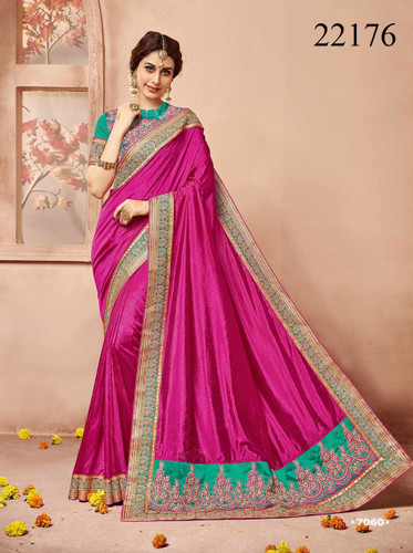 Gorgeous & Classy Pink Colored Premium Silk Saree