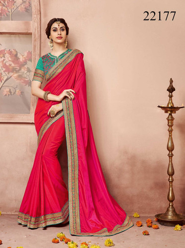 Gorgeous & Classy Designer Pink Colored Silk Saree
