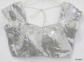 Readymade Saree Blouse Choli Bollywood Style Silver Glitter