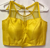 Ready-to-wear Padded Saree Blouse Choli Yellow Color Net Sleeveless  Design
