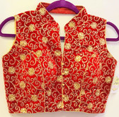 Ready-to-wear Padded Saree Blouse Choli Red With Gold Thread Work Brocade Design