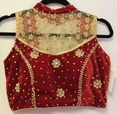 Ready-to-wear Padded Saree Blouse Choli Meroon Velvet With Goldnet and Sequence Work  Design