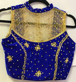 Ready-to-wear Padded Saree Blouse Choli Blue Velvet With Goldnet and Sequence Work  Design