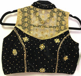 Ready-to-wear Padded Saree Blouse Choli Black  Velvet With Goldnet and Sequence Work  Design
