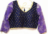 Ready-to-wear Padded Saree Blouse Choli Blue with Golden Dot print and Netted full sleeves Design