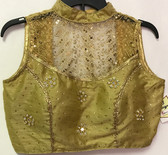 Ready-to-wear Padded Saree Blouse Choli Golden high neck netted with Sequence work Design