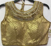 Ready-to-wear Padded Saree Blouse Choli Golden n Silver beaded net high neck Design