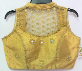 Ready-to-wear Padded Saree Blouse Choli Yellowish Gold  high neck net embroidery sequence work Design