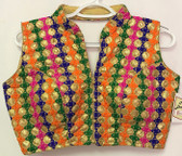 Ready-to-wear Padded Saree Blouse Choli Gold Base Multicolor thread Sequence work Design