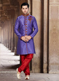 Designer Light Purple Marron Giccha Silk Art Dupion Readymade Sherwani D1021511562