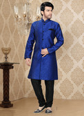Designer Royal Blue Black Jaquard Art Silk Sherwani D1021511841