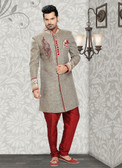 Premium Designer Brown Marron Jute Art Silk Sherwani D1021511844
