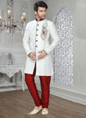 Designer Off White Marron Jaquard Art Silk Sherwani D1021511846