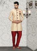 Designer Dark Gold Marron Jaquard Art Silk Sherwani D1021511849