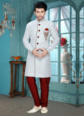 Designer Off White Marron Art Silk Art Silk Sherwani D1021511854