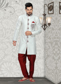 Designer Off White Marron Brocade Art Silk Sherwani D1021511857