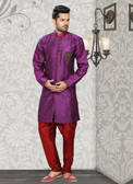 Designer Purple Marron Art Silk Art Silk Sherwani D1021511858