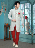 Designer Off White Marron Brocade Art Silk Sherwani D1021511859