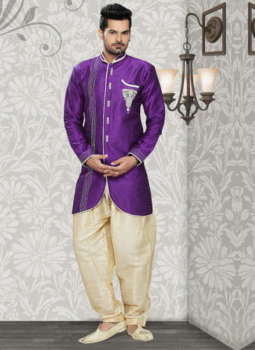 Designer Purple Gold Art Silk Art Silk Sherwani D1021511860
