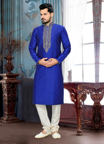 Designer Royal Blue Off White Giccha Silk Art Dupion Kurta Payjama D1021511922