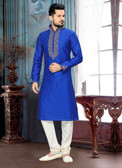 Designer Royal Blue Off White Giccha Silk Art Dupion Kurta Payjama D1021511923
