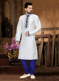 Premium Designer Off White Royal Blue Art Jaquard Art Dupion Kurta Pay D1021511931