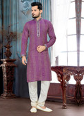Designer Purple  Off White Giccha Silk Art Dupion Kurta Payjama D1021511935