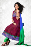 Indian Bollywood Pakistani Chanderi Salwar Kameez Suit Maroon Color