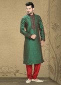 Stylish 2 tone Green Marron Art Silk Poly Silk Kurta Pyajama D1021511960