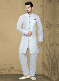 Designer White  White Poly Cotton Poly Cotton Kurta Pyajama D1021511965